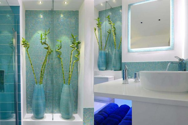 modern bathroom interior mosaic bespoke mirror lights