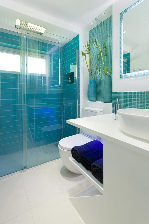 modern bathroom interior walk in shower mosaic
