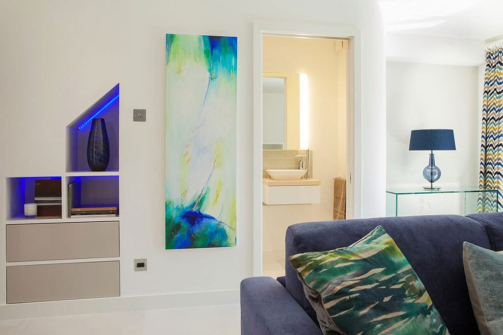 living area white minimalist bespoke painting cloakroom