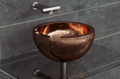 free standing basin copper interior design