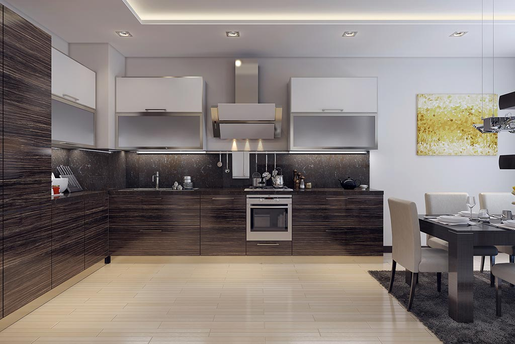 Contemporary kitchen with coffer ceiling