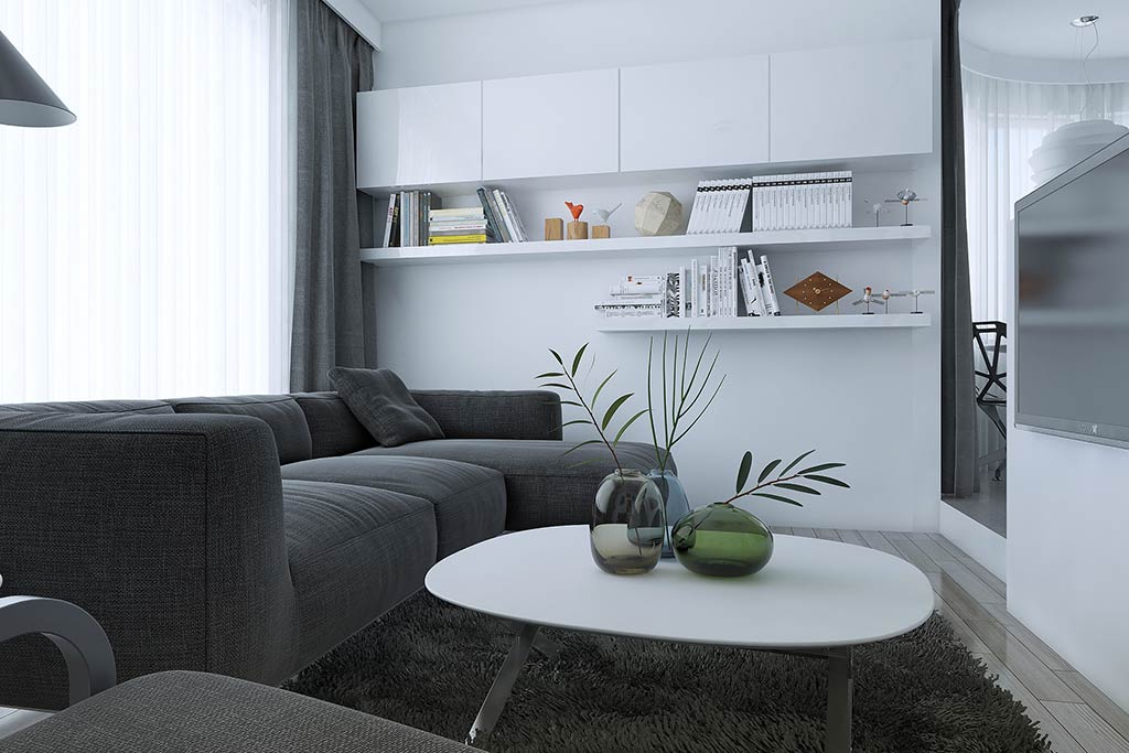 Living area black and white modern style interior open space
