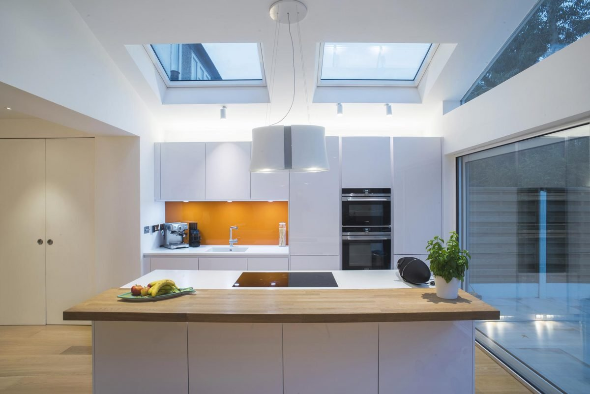 Kitchen extension white modern lighting