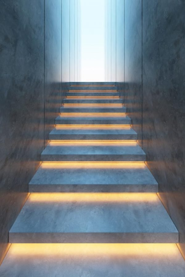 Lighting design LED stairs strip lights concealed under set steps