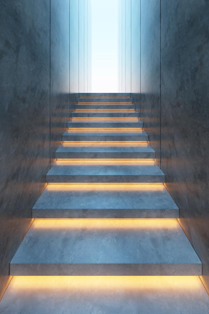 Lighting design LED stairs strip lights concealed under set steps