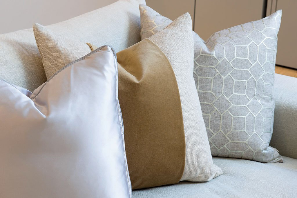 Media room details cushions close-up