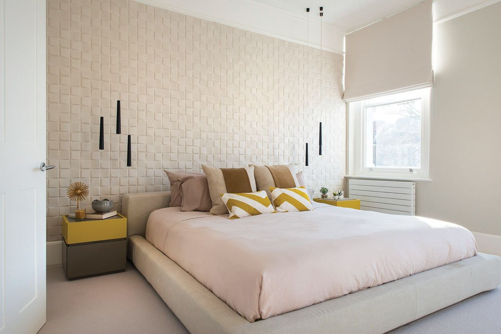 Master bedroom with 3D wallpaper and flute pendants