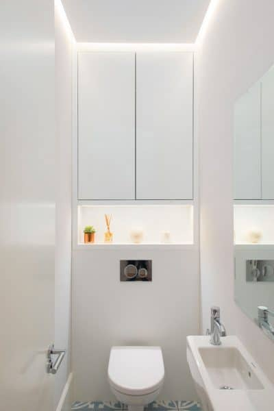 lighting design in a white cloakroom