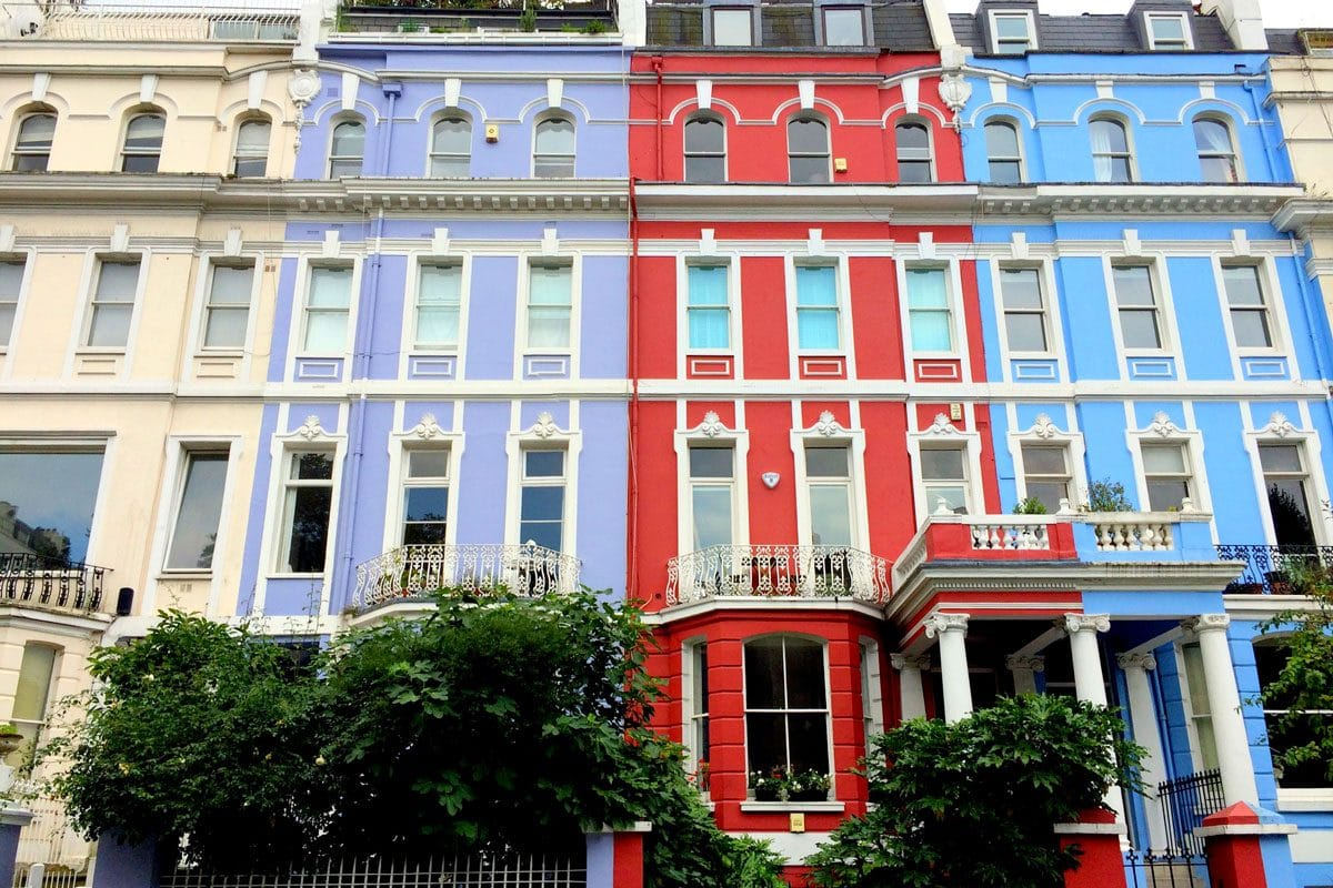 red and blue houses