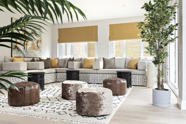Arabic bespoke sofa with a contemporary twist in Kensington