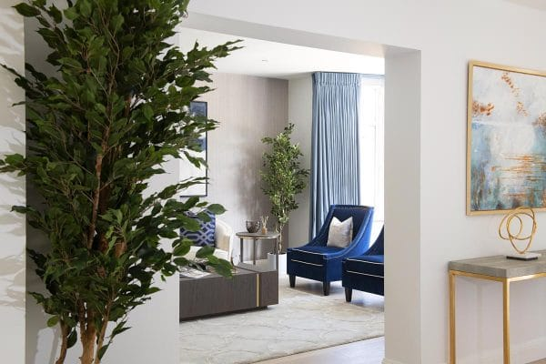 angle view of the contemporary entrance and formal living room in Kensington