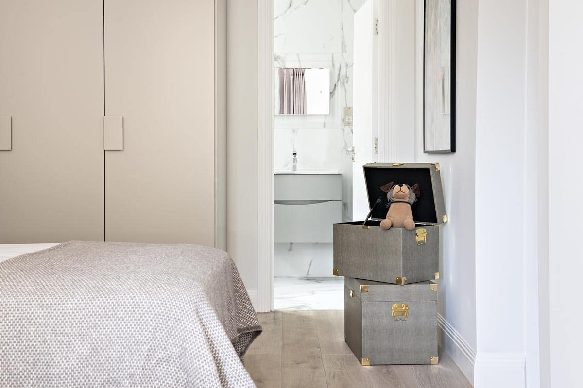 Contemporary Twin bedroom in taupe with toys storage in Kensington