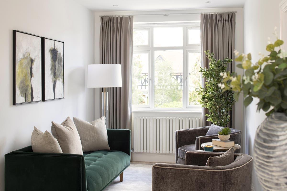 Sophisticated lounge featuring biophili design principles in Kensignton by Moretti Interior Design