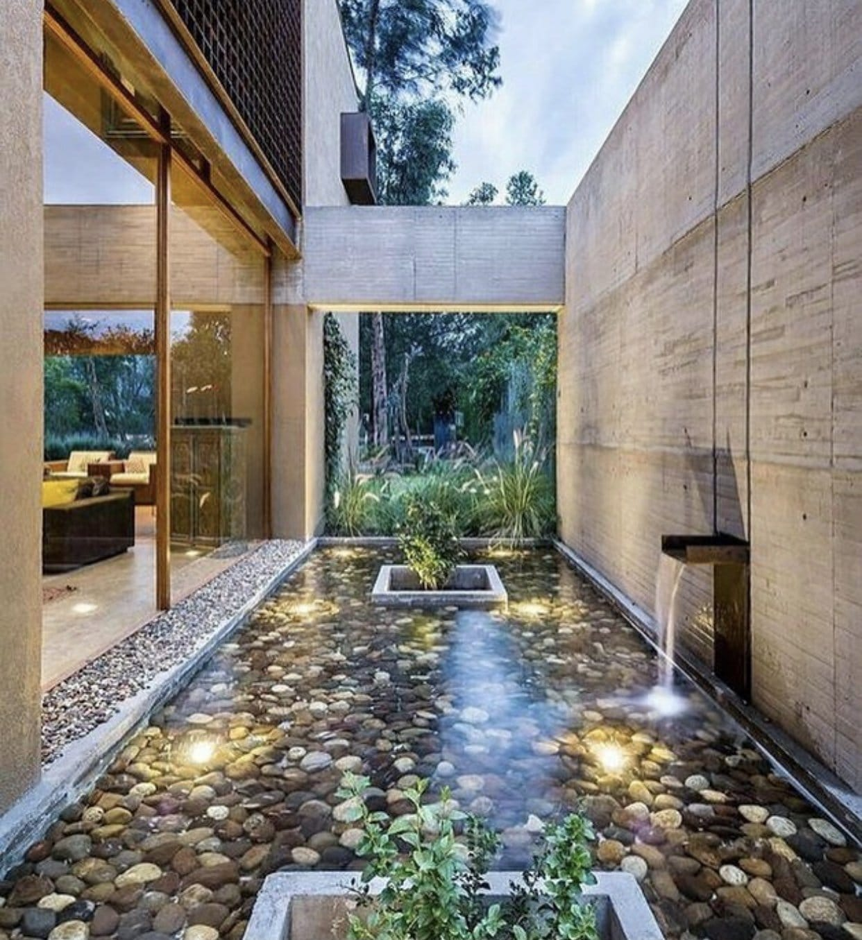 Biophilic design with water features